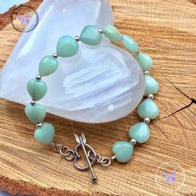 Amazonite Hearts Healing Bracelet